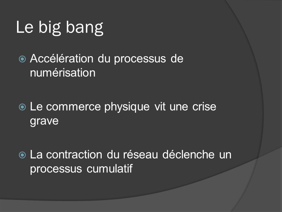 Le big bang Accélération du processus de numérisation Le commerce physique vit une crise grave La contraction du réseau déclenche un processus cumulat