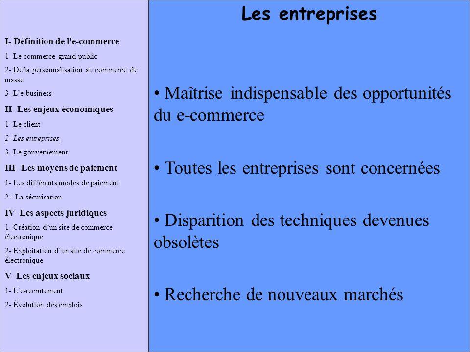 I- Définition de le-commerce 1- Le commerce grand public 2- De la personnalisation au commerce de masse 3- Le-business II- Les enjeux économiques 1- L