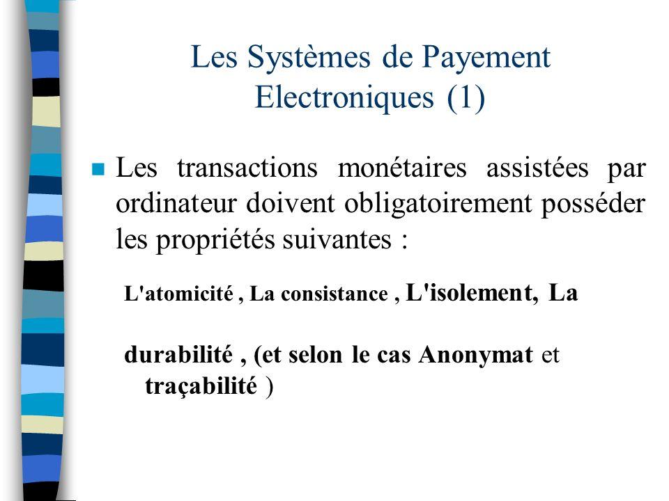 Les Systèmes de Payement Electroniques (1) n Les transactions monétaires assistées par ordinateur doivent obligatoirement posséder les propriétés suiv