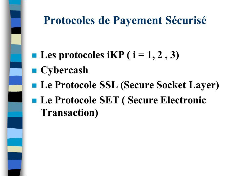 Protocoles de Payement Sécurisé n Les protocoles iKP ( i = 1, 2, 3) n Cybercash n Le Protocole SSL (Secure Socket Layer) n Le Protocole SET ( Secure E