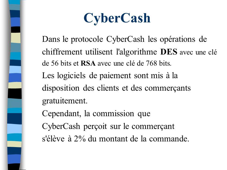 CyberCash Dans le protocole CyberCash les opérations de chiffrement utilisent l'algorithme DES avec une clé de 56 bits et RSA avec une clé de 768 bits