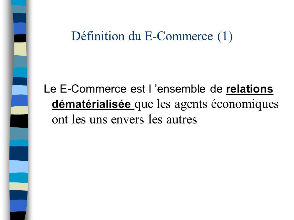 Définition du E-Commerce (1) Le E-Commerce est l ensemble de relations dématérialisée que les agents économiques ont les uns envers les autres