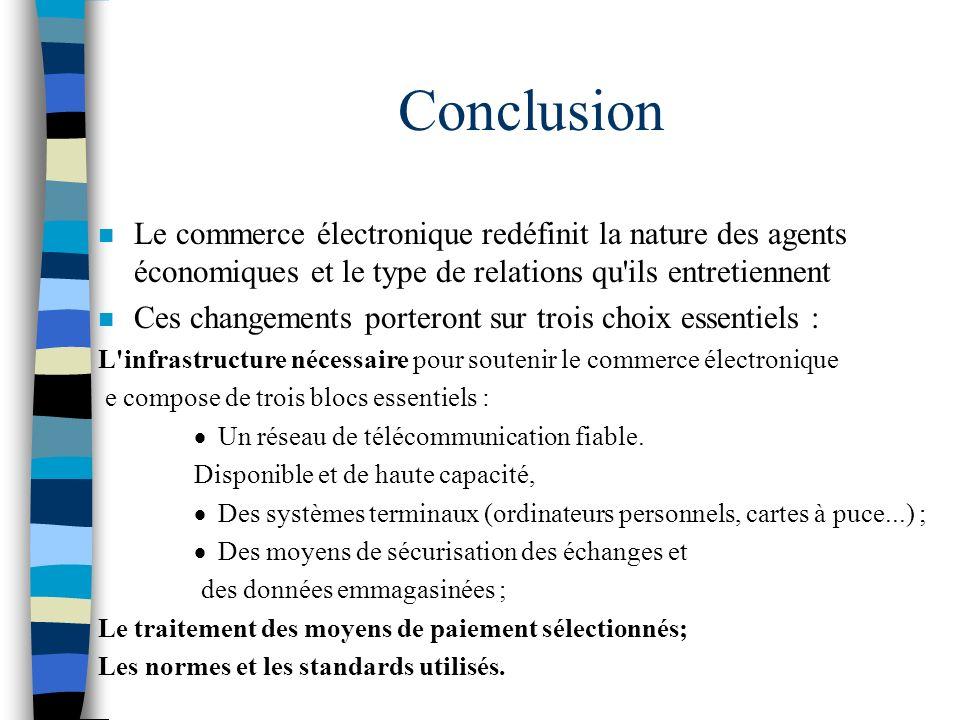 Conclusion n Le commerce électronique redéfinit la nature des agents économiques et le type de relations qu'ils entretiennent n Ces changements porter
