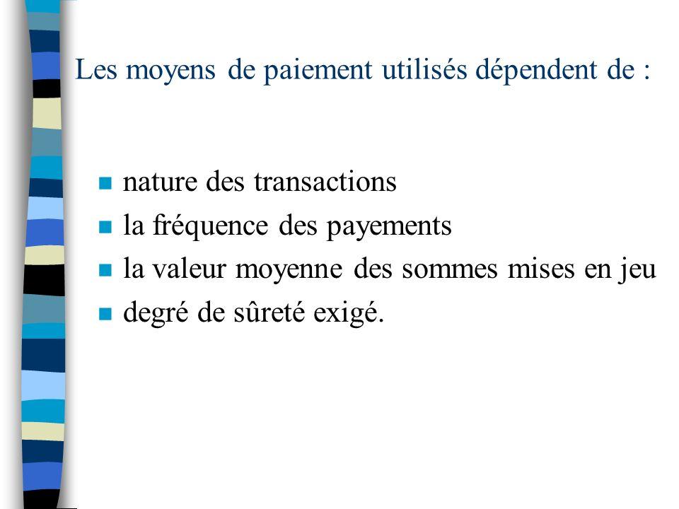 Les moyens de paiement utilisés dépendent de : n nature des transactions n la fréquence des payements n la valeur moyenne des sommes mises en jeu n de
