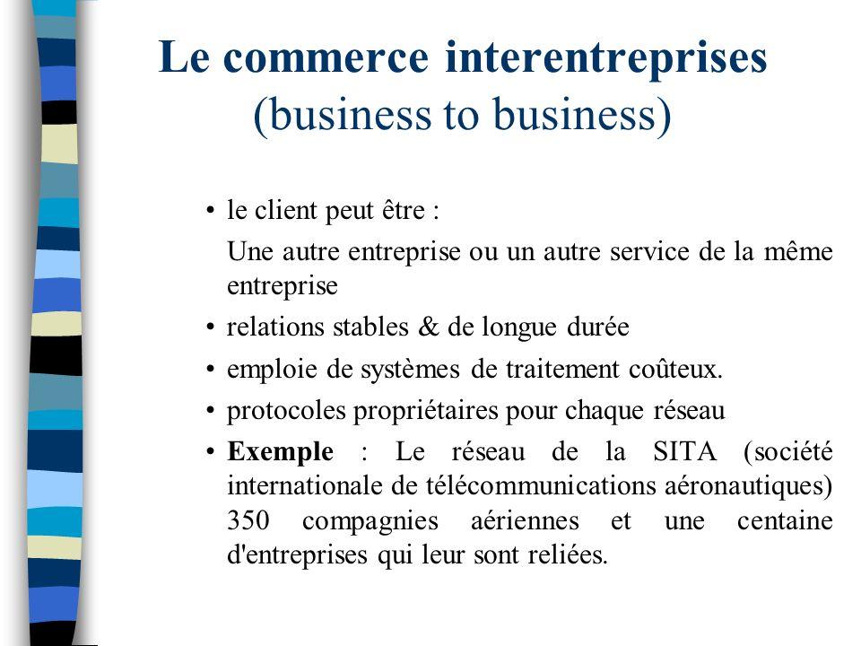 Le commerce interentreprises (business to business) le client peut être : Une autre entreprise ou un autre service de la même entreprise relations sta