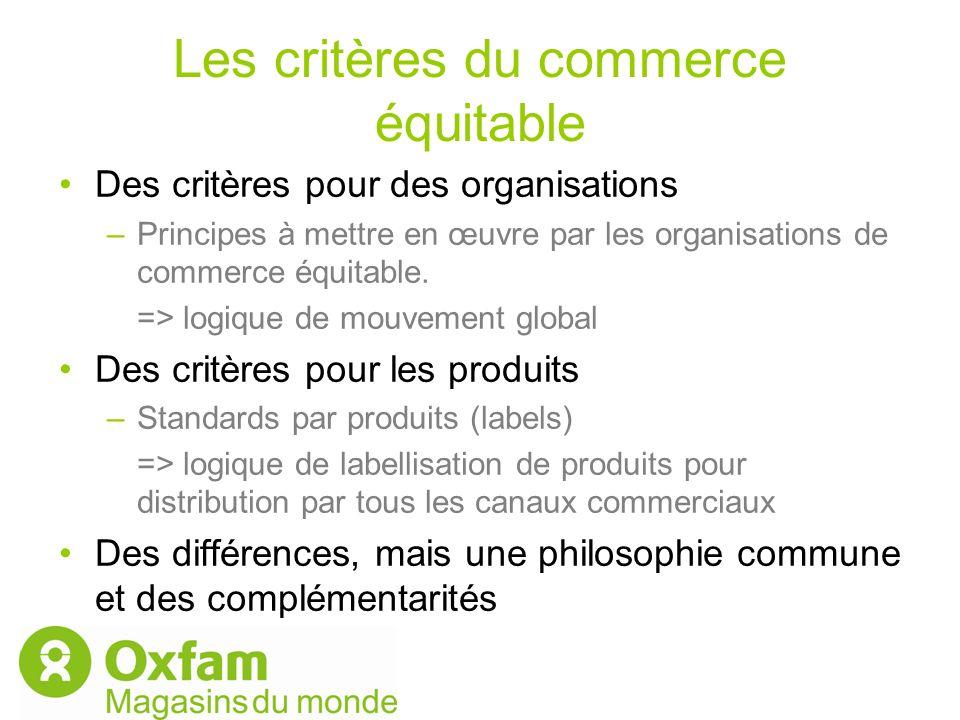 Les critères du commerce équitable Des critères pour des organisations –Principes à mettre en œuvre par les organisations de commerce équitable. => lo