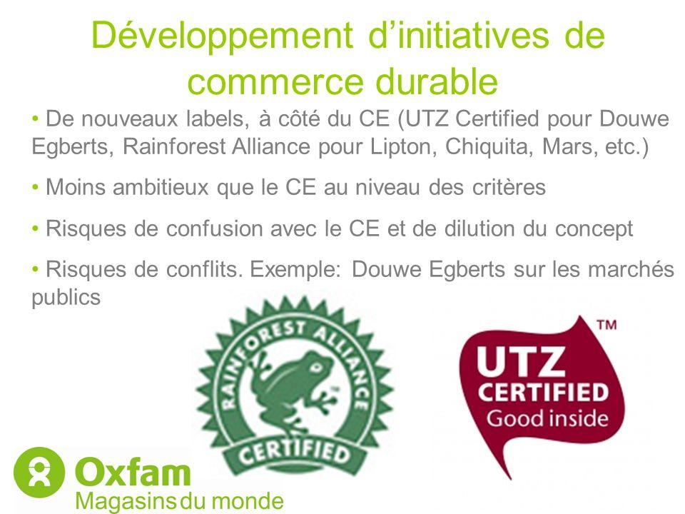 Développement dinitiatives de commerce durable De nouveaux labels, à côté du CE (UTZ Certified pour Douwe Egberts, Rainforest Alliance pour Lipton, Ch