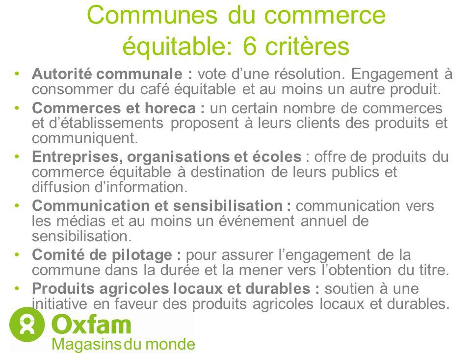 Communes du commerce équitable: 6 critères Autorité communale : vote dune résolution. Engagement à consommer du café équitable et au moins un autre pr