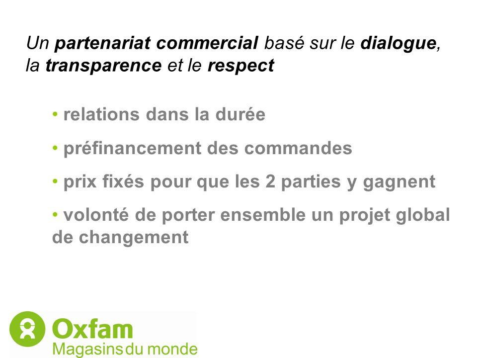 Un partenariat commercial basé sur le dialogue, la transparence et le respect relations dans la durée préfinancement des commandes prix fixés pour que