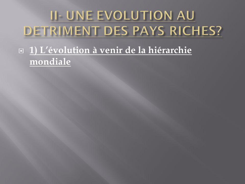 1) Lévolution à venir de la hiérarchie mondiale