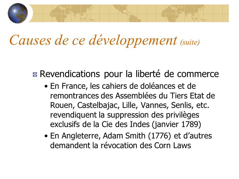 Causes de ce développement (suite) Revendications pour la liberté de commerce En France, les cahiers de doléances et de remontrances des Assemblées du Tiers Etat de Rouen, Castelbajac, Lille, Vannes, Senlis, etc.