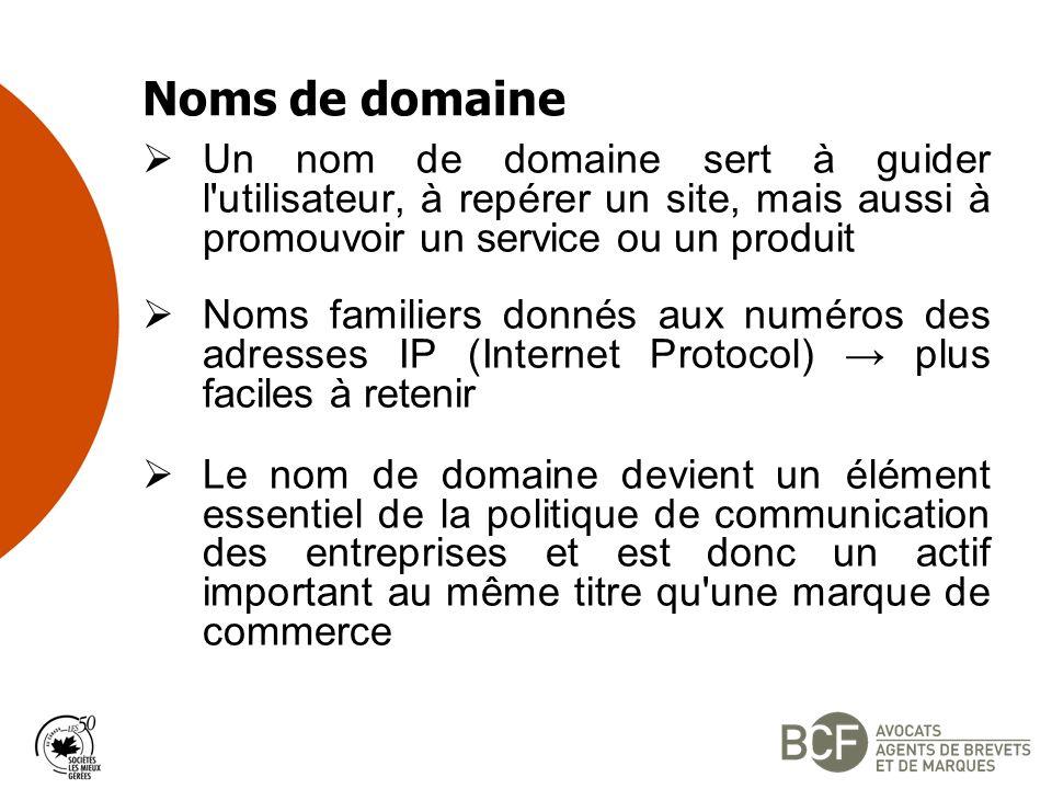 Noms de domaine Un nom de domaine sert à guider l utilisateur, à repérer un site, mais aussi à promouvoir un service ou un produit Noms familiers donnés aux numéros des adresses IP (Internet Protocol) plus faciles à retenir Le nom de domaine devient un élément essentiel de la politique de communication des entreprises et est donc un actif important au même titre qu une marque de commerce