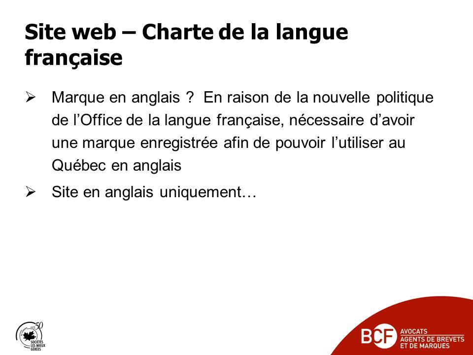 Site web – Charte de la langue française Marque en anglais .