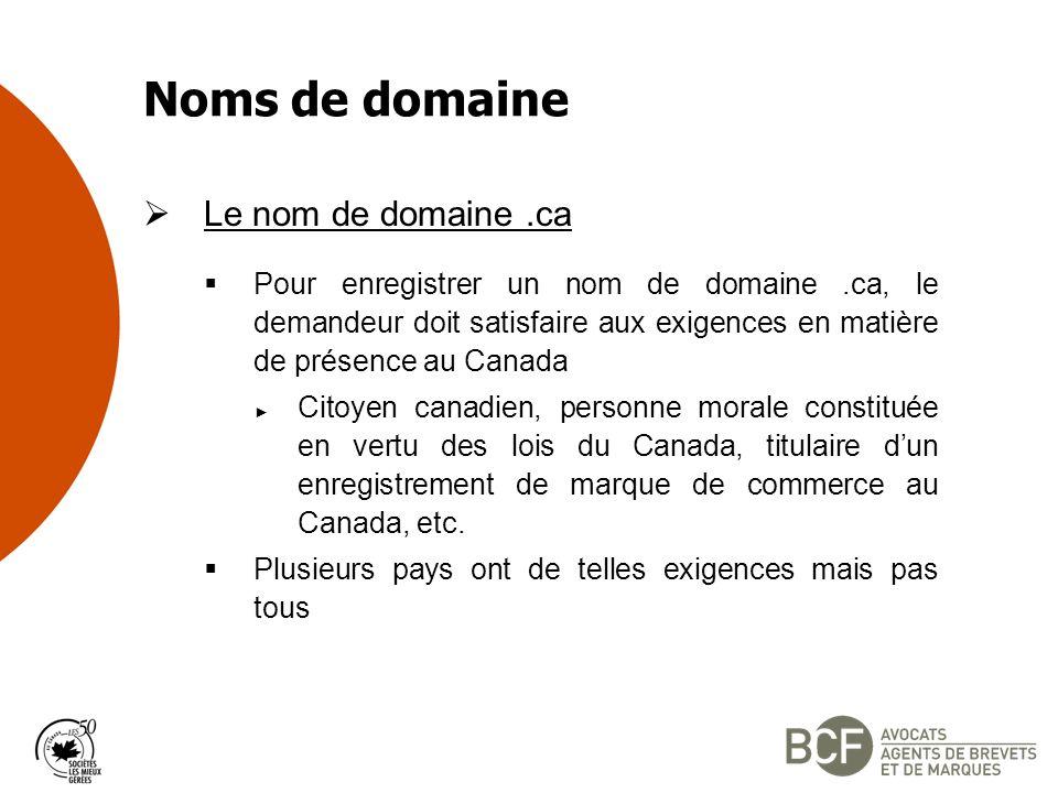 Noms de domaine Le nom de domaine.ca Pour enregistrer un nom de domaine.ca, le demandeur doit satisfaire aux exigences en matière de présence au Canada Citoyen canadien, personne morale constituée en vertu des lois du Canada, titulaire dun enregistrement de marque de commerce au Canada, etc.