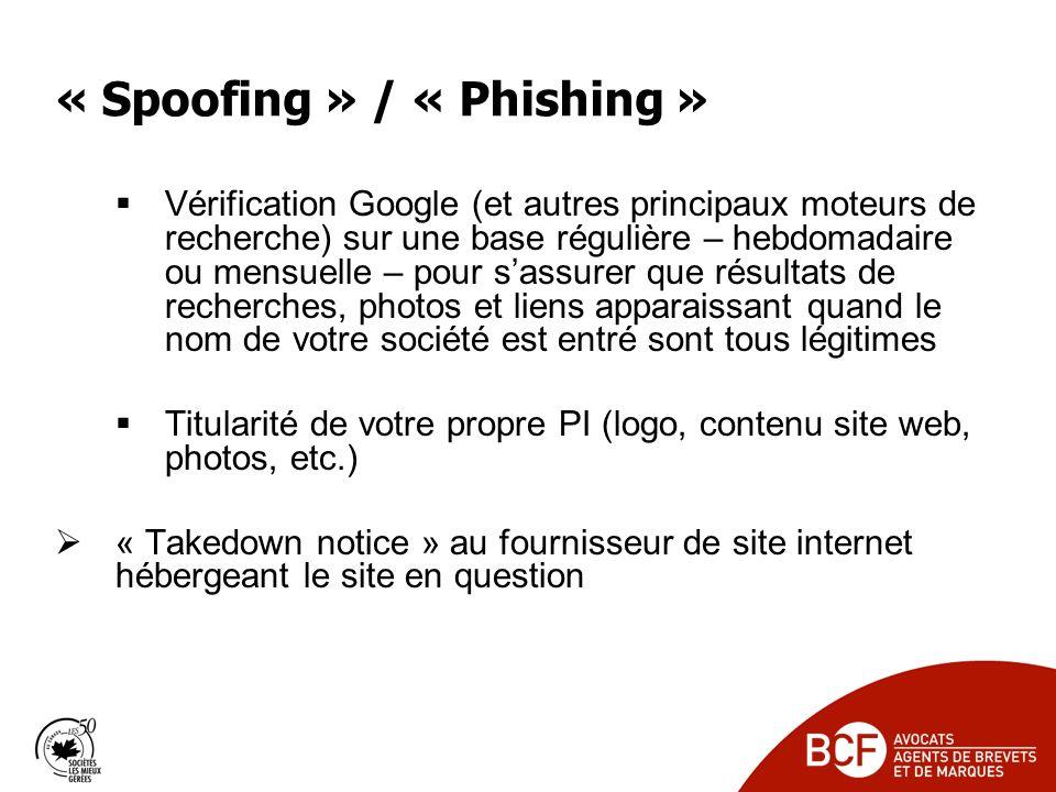 « Spoofing » / « Phishing » Vérification Google (et autres principaux moteurs de recherche) sur une base régulière – hebdomadaire ou mensuelle – pour sassurer que résultats de recherches, photos et liens apparaissant quand le nom de votre société est entré sont tous légitimes Titularité de votre propre PI (logo, contenu site web, photos, etc.) « Takedown notice » au fournisseur de site internet hébergeant le site en question