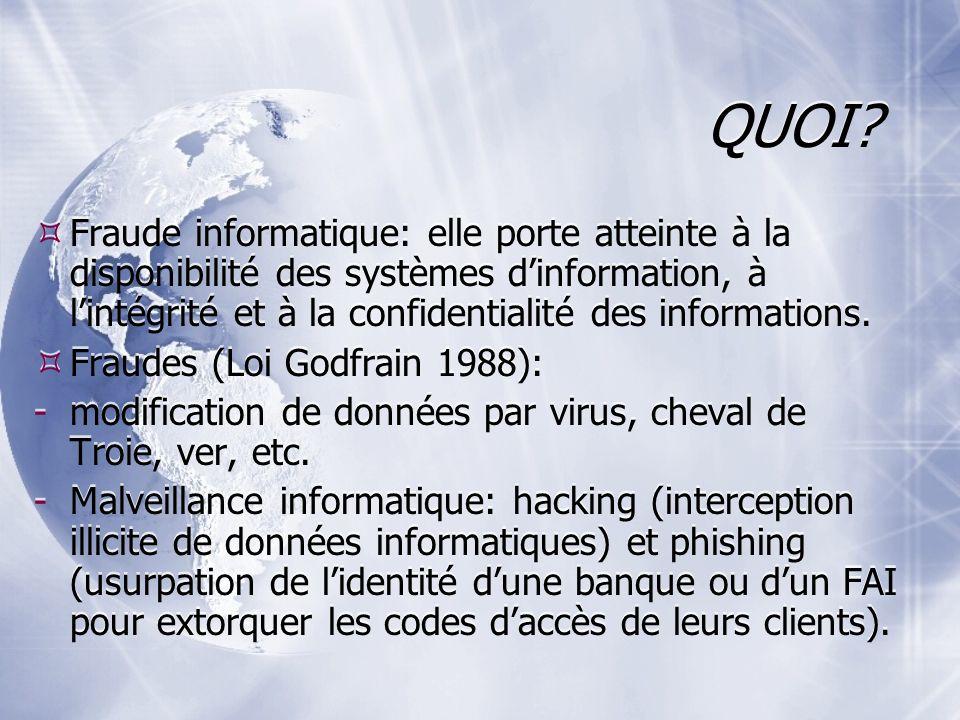 QUOI? Fraude informatique: elle porte atteinte à la disponibilité des systèmes dinformation, à lintégrité et à la confidentialité des informations. Fr
