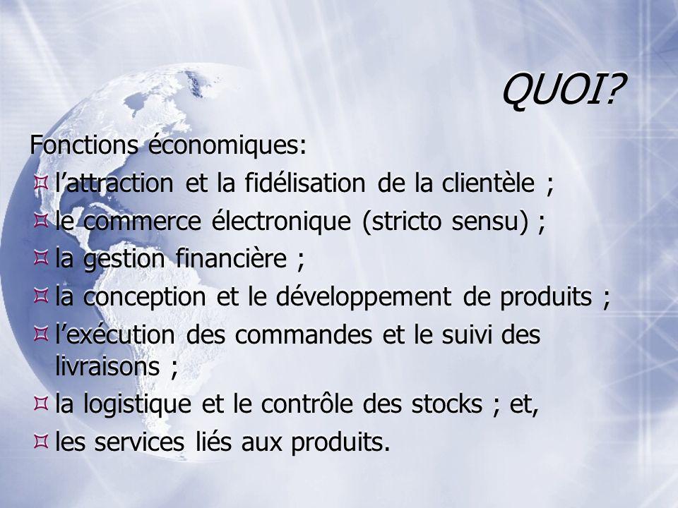 QUOI? Fonctions économiques: lattraction et la fidélisation de la clientèle ; le commerce électronique (stricto sensu) ; la gestion financière ; la co