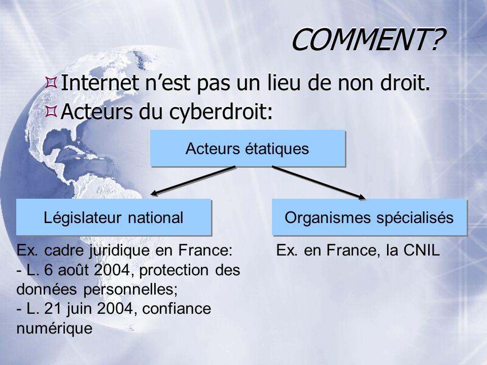 COMMENT? Internet nest pas un lieu de non droit. Acteurs du cyberdroit: Internet nest pas un lieu de non droit. Acteurs du cyberdroit: Acteurs étatiqu