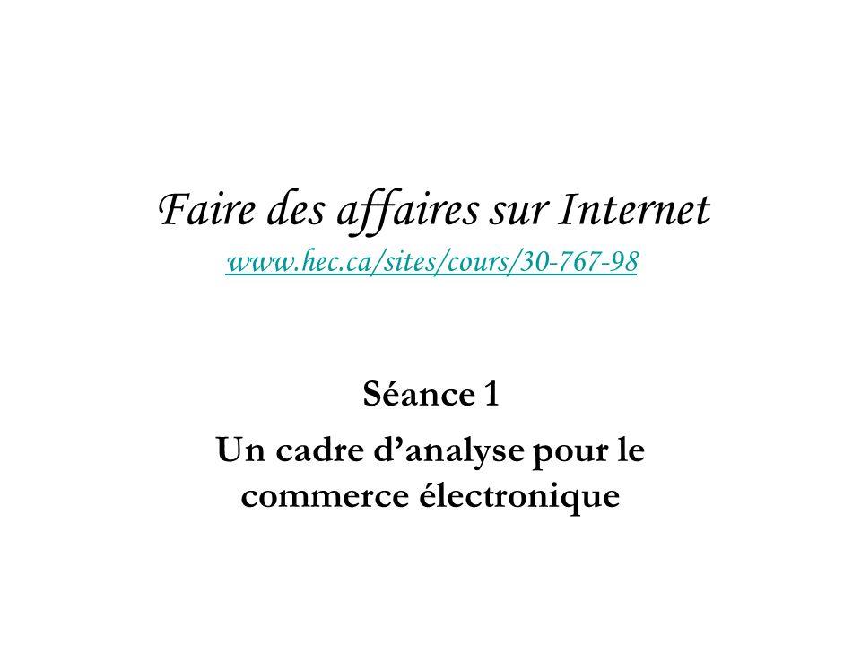 Faire des affaires sur Internet www.hec.ca/sites/cours/30-767-98 www.hec.ca/sites/cours/30-767-98 Séance 1 Un cadre danalyse pour le commerce électronique