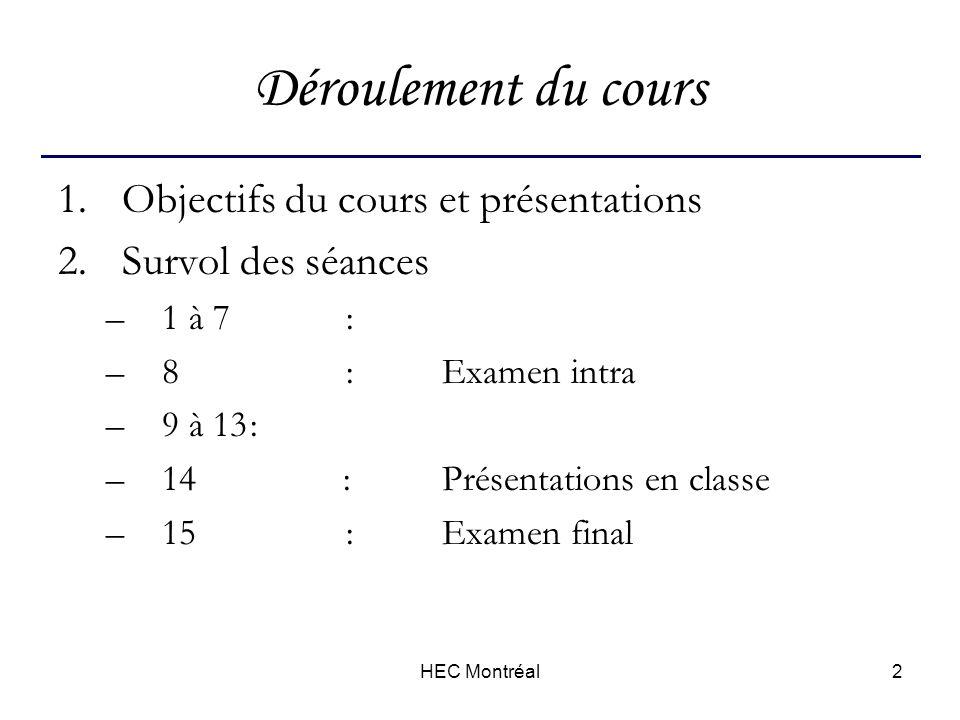 HEC Montréal2 Déroulement du cours 1.Objectifs du cours et présentations 2.Survol des séances –1 à 7 : –8 :Examen intra –9 à 13: –14 :Présentations en classe –15:Examen final