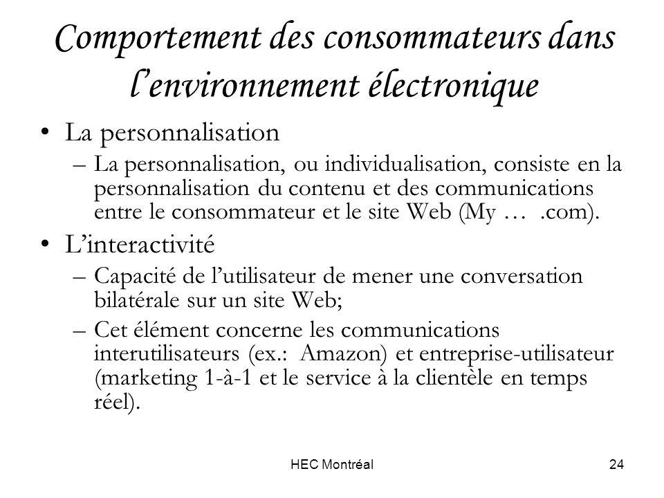 HEC Montréal24 Comportement des consommateurs dans lenvironnement électronique La personnalisation –La personnalisation, ou individualisation, consiste en la personnalisation du contenu et des communications entre le consommateur et le site Web (My ….com).