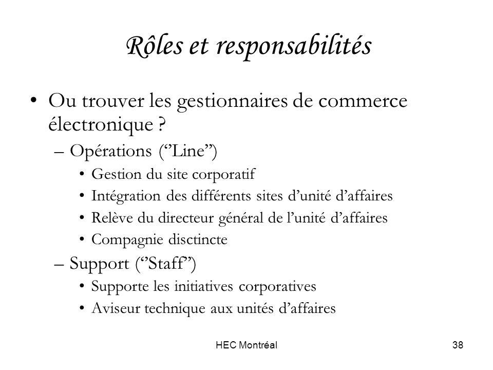 HEC Montréal38 Rôles et responsabilités Ou trouver les gestionnaires de commerce électronique .