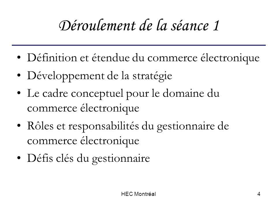 HEC Montréal4 Déroulement de la séance 1 Définition et étendue du commerce électronique Développement de la stratégie Le cadre conceptuel pour le domaine du commerce électronique Rôles et responsabilités du gestionnaire de commerce électronique Défis clés du gestionnaire