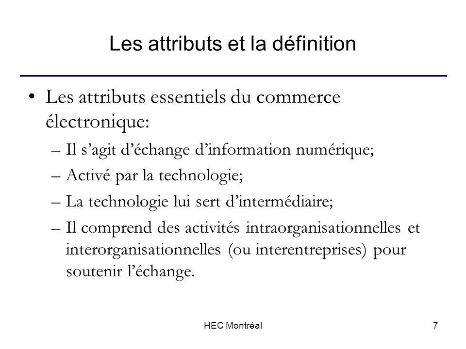 HEC Montréal8 Les attributs et la définition En résumé, le commerce électronique peut être défini comme … –Lensemble des échanges entre partis (individus ou entreprises), qui utilisent la technologie comme intermédiaire, et qui regroupe lensemble des activités électroniques intraorganisationnelles ou interorganisationnelles qui facilitent ces échanges.