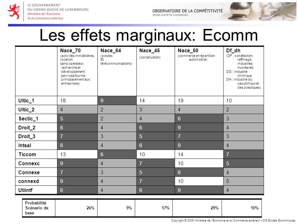 Copyright © 2006 Ministère de lEconomie et du Commerce extérieur – DG Etudes Economiques Les effets marginaux: Ecomm Nace_70 (activités immobilières,