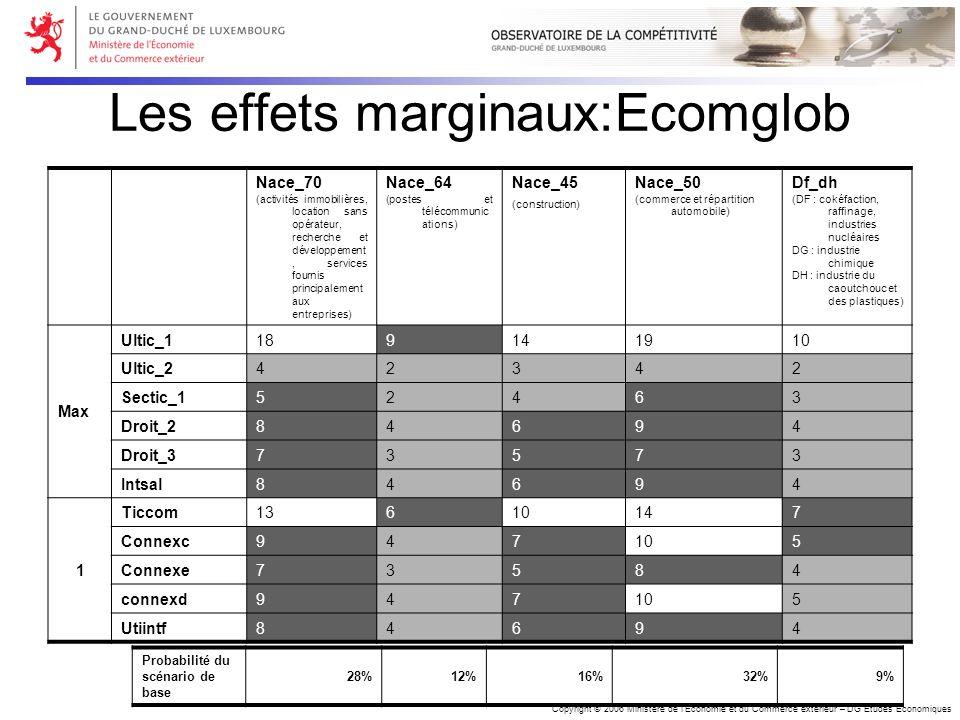 Copyright © 2006 Ministère de lEconomie et du Commerce extérieur – DG Etudes Economiques Les effets marginaux:Ecomglob Nace_70 (activités immobilières