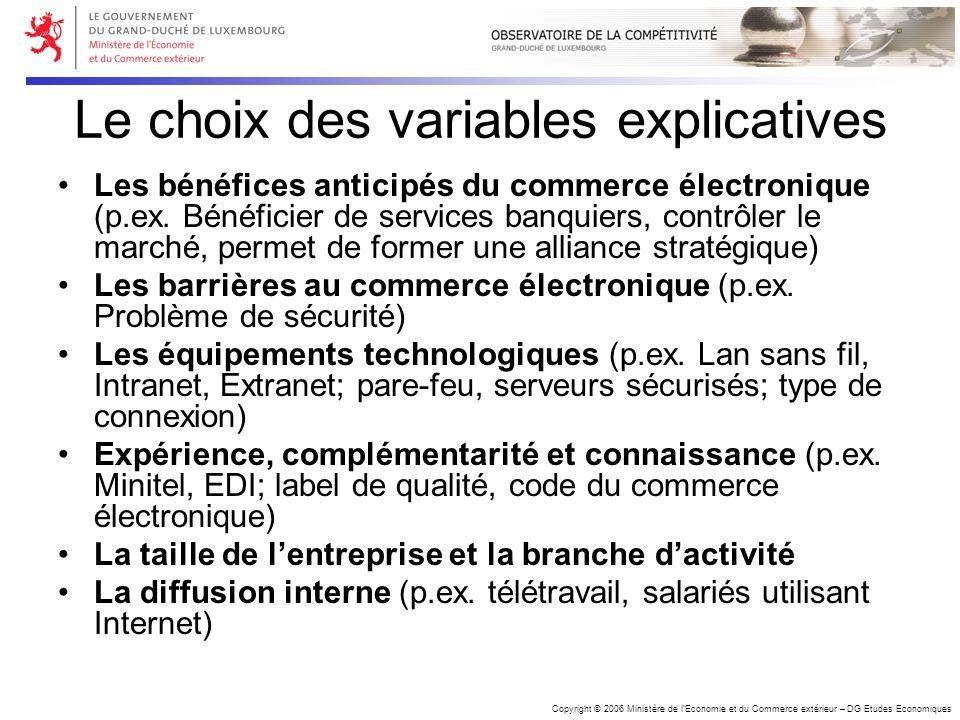 Copyright © 2006 Ministère de lEconomie et du Commerce extérieur – DG Etudes Economiques Le choix des variables explicatives Les bénéfices anticipés d