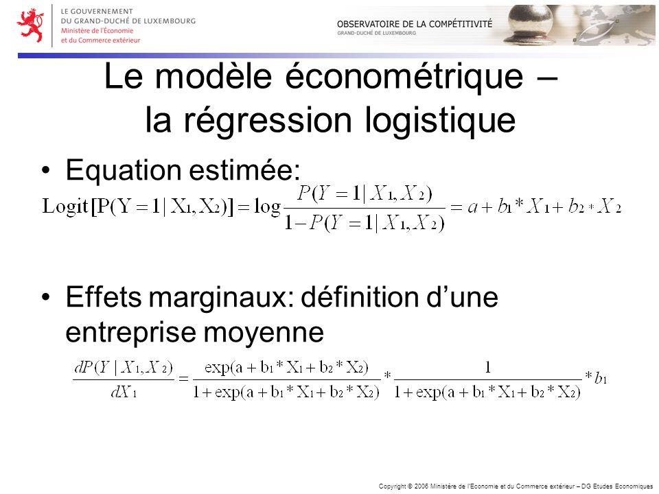 Copyright © 2006 Ministère de lEconomie et du Commerce extérieur – DG Etudes Economiques Le modèle économétrique – la régression logistique Equation e
