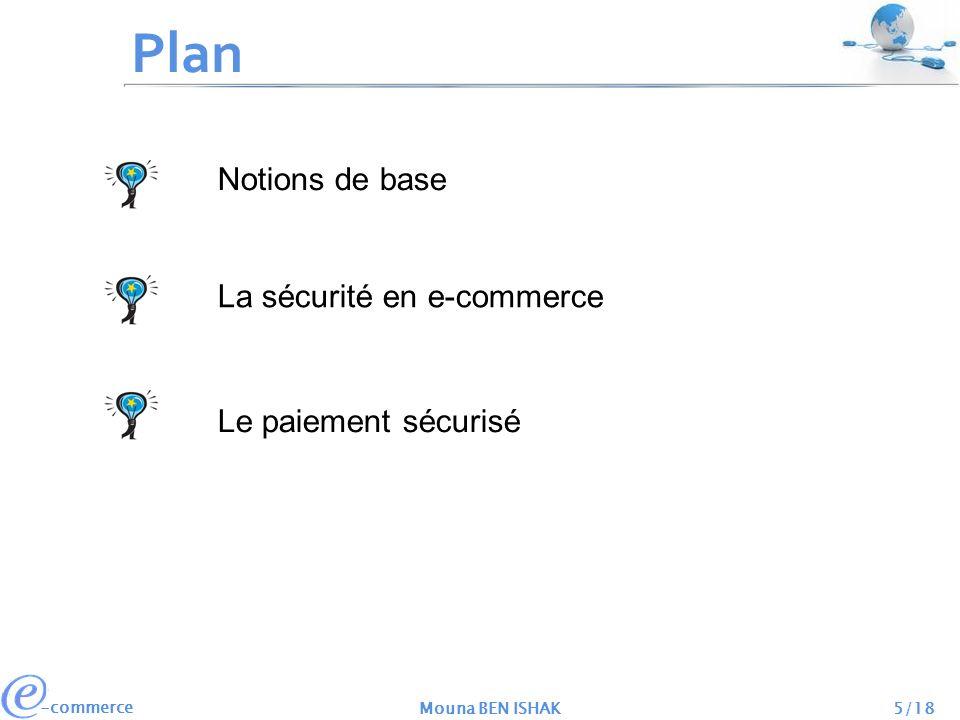 -commerce Mouna BEN ISHAK6/18 Avant propos Notions de base La sécurité en e-commerce Le paiement sécurisé EDI e-commerce e-business Affaires électroniques Commerce électronique Echange de données informatisé Utilisant des normes techniques internationales de référence.