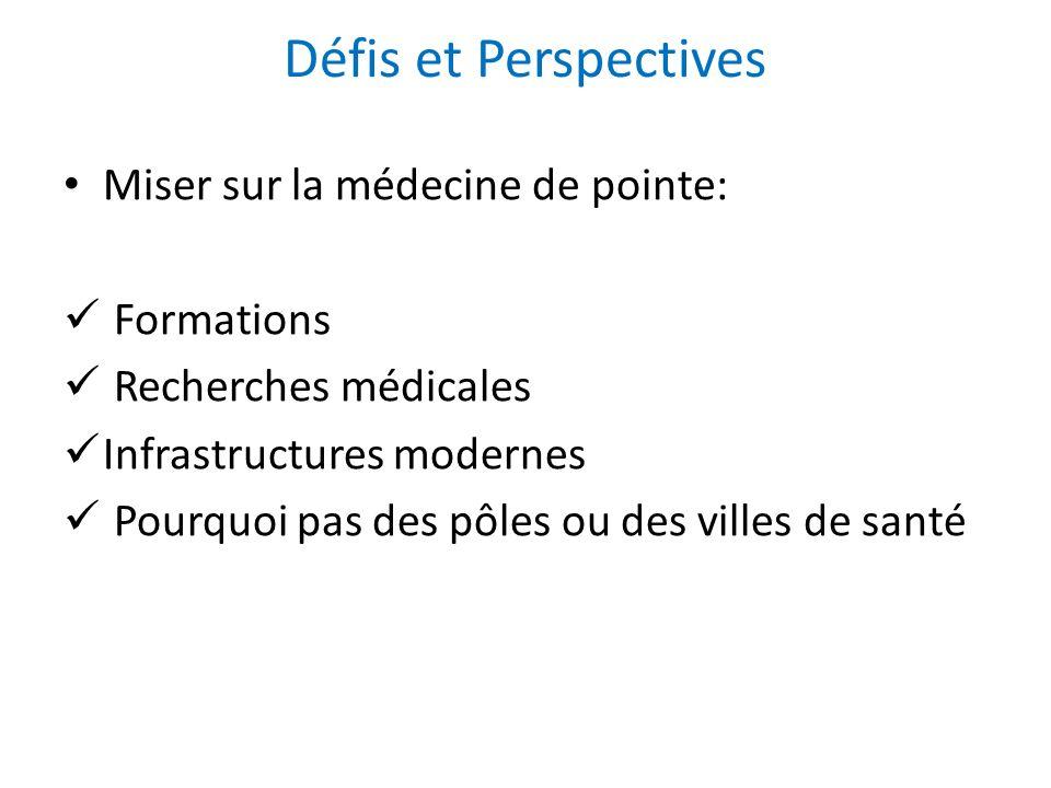 Miser sur la médecine de pointe: Formations Recherches médicales Infrastructures modernes Pourquoi pas des pôles ou des villes de santé Défis et Persp