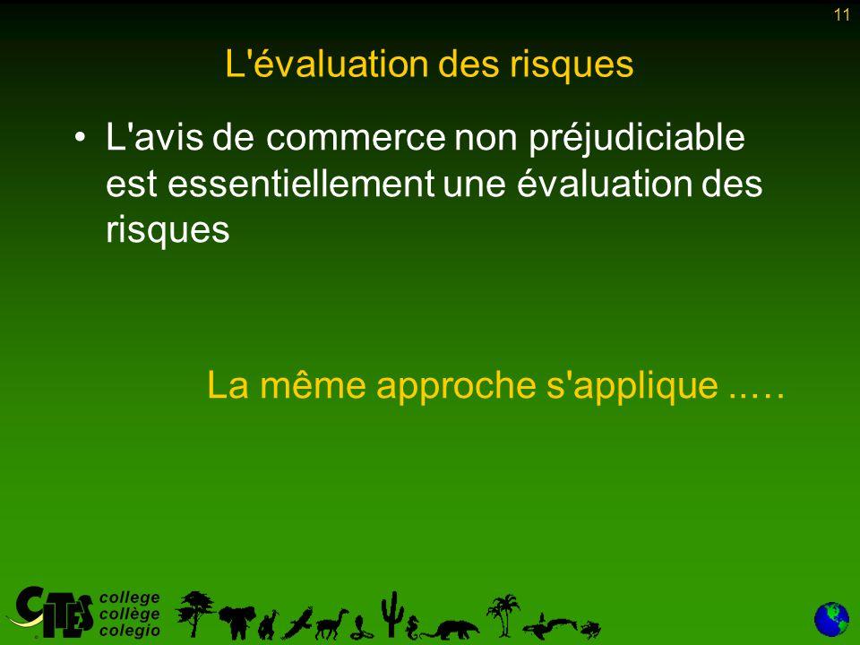 11 L évaluation des risques L avis de commerce non préjudiciable est essentiellement une évaluation des risques La même approche s applique..…