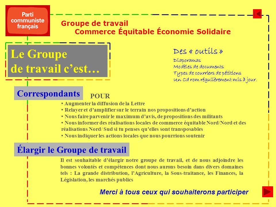 Groupe de travail Commerce Équitable Économie Solidaire Élargir le Groupe de travail Il est souhaitable délargir notre groupe de travail, et de nous a