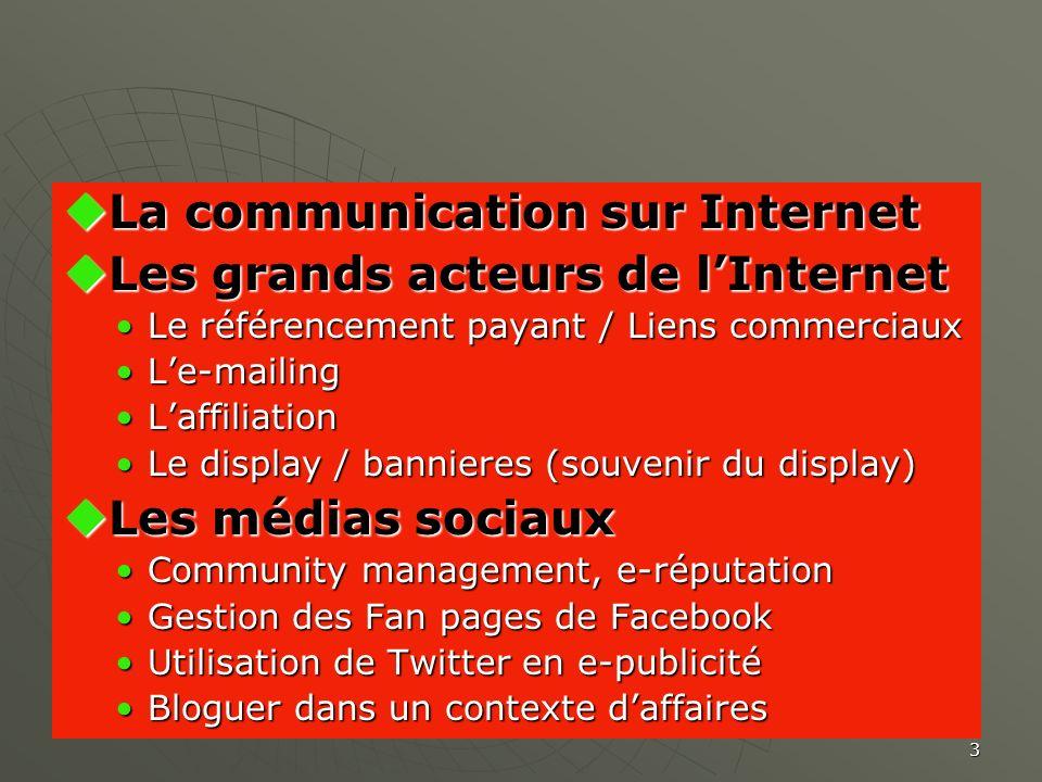 3 La communication sur Internet La communication sur Internet Les grands acteurs de lInternet Les grands acteurs de lInternet Le référencement payant