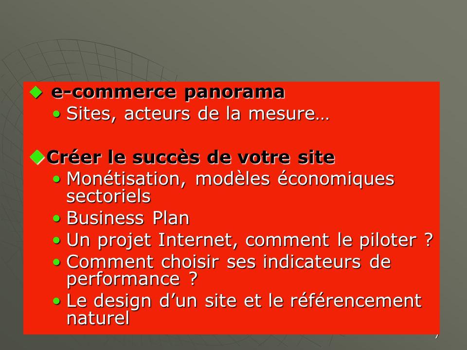 7 e-commerce panorama e-commerce panorama Sites, acteurs de la mesure…Sites, acteurs de la mesure… Créer le succès de votre site Créer le succès de vo