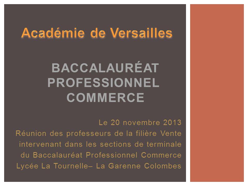 Le 20 novembre 2013 Réunion des professeurs de la filière Vente intervenant dans les sections de terminale du Baccalauréat Professionnel Commerce Lycé