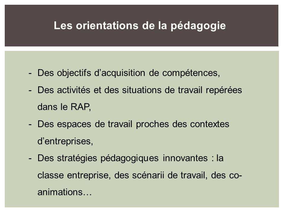 -Des objectifs dacquisition de compétences, -Des activités et des situations de travail repérées dans le RAP, -Des espaces de travail proches des contextes dentreprises, -Des stratégies pédagogiques innovantes : la classe entreprise, des scénarii de travail, des co- animations… Les orientations de la pédagogie