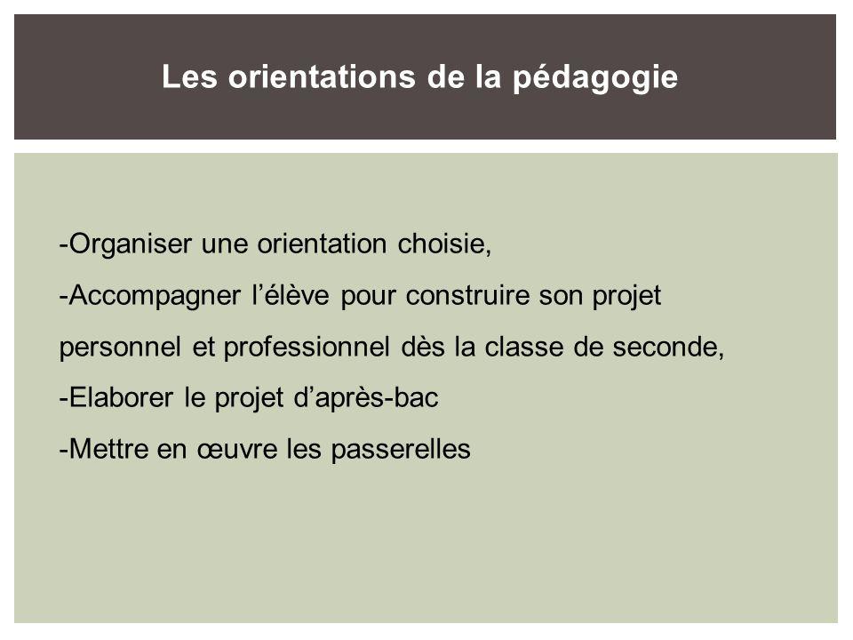 -Organiser une orientation choisie, -Accompagner lélève pour construire son projet personnel et professionnel dès la classe de seconde, -Elaborer le projet daprès-bac -Mettre en œuvre les passerelles Les orientations de la pédagogie