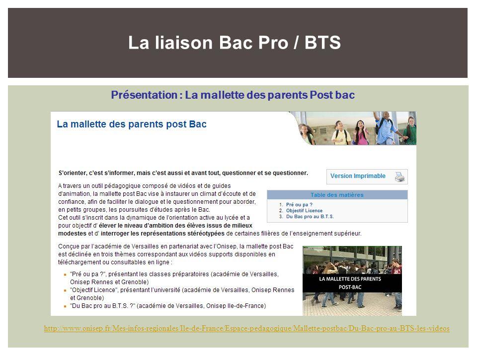 La liaison Bac Pro / BTS Présentation : La mallette des parents Post bac http://www.onisep.fr/Mes-infos-regionales/Ile-de-France/Espace-pedagogique/Ma
