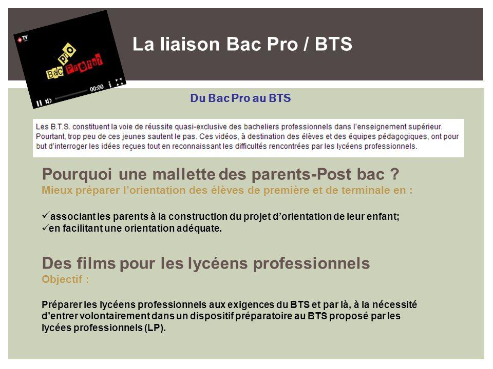 La liaison Bac Pro / BTS Du Bac Pro au BTS Pourquoi une mallette des parents-Post bac ? Mieux préparer lorientation des élèves de première et de termi