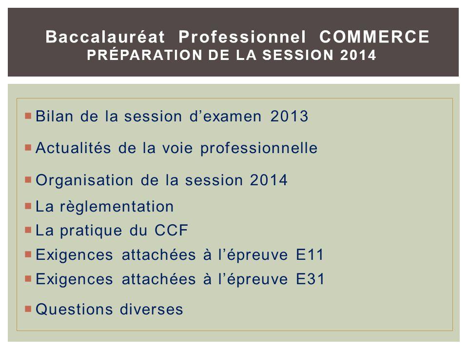 Bilan de la session dexamen 2013 Actualités de la voie professionnelle Organisation de la session 2014 La règlementation La pratique du CCF Exigences