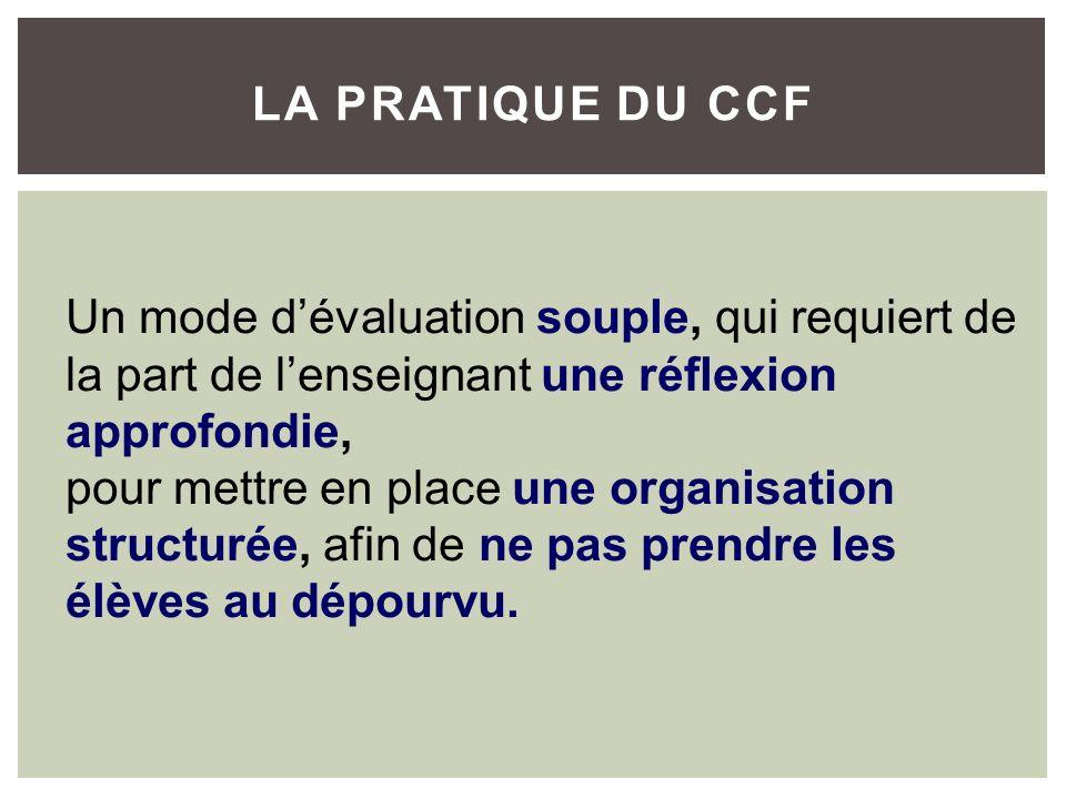 Un mode dévaluation souple, qui requiert de la part de lenseignant une réflexion approfondie, pour mettre en place une organisation structurée, afin d