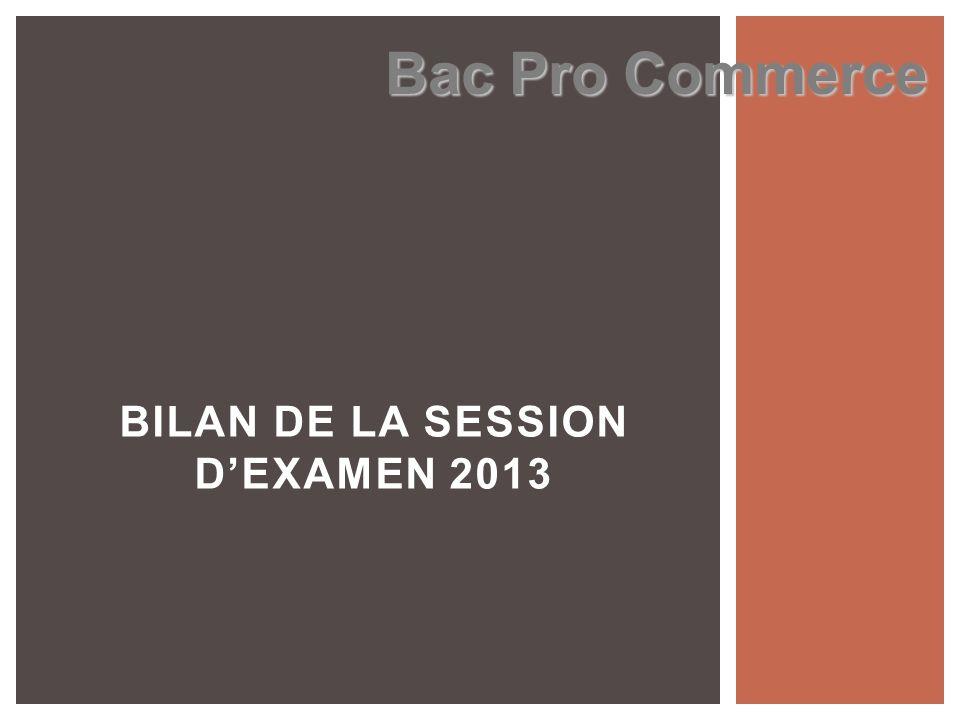BILAN DE LA SESSION DEXAMEN 2013 Bac Pro Commerce