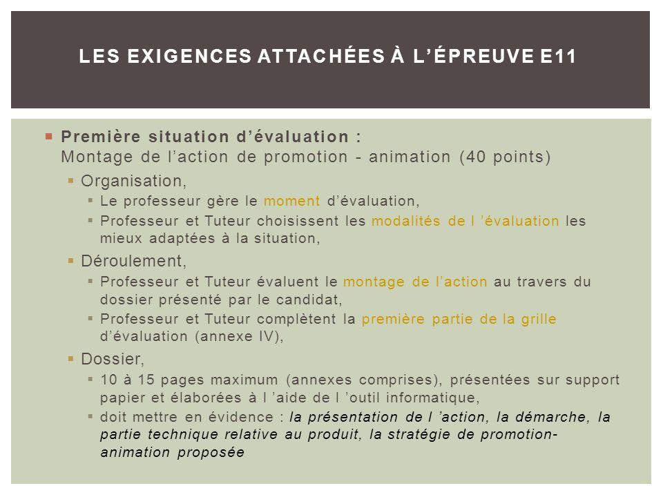 Première situation dévaluation : Montage de laction de promotion - animation (40 points) Organisation, Le professeur gère le moment dévaluation, Profe