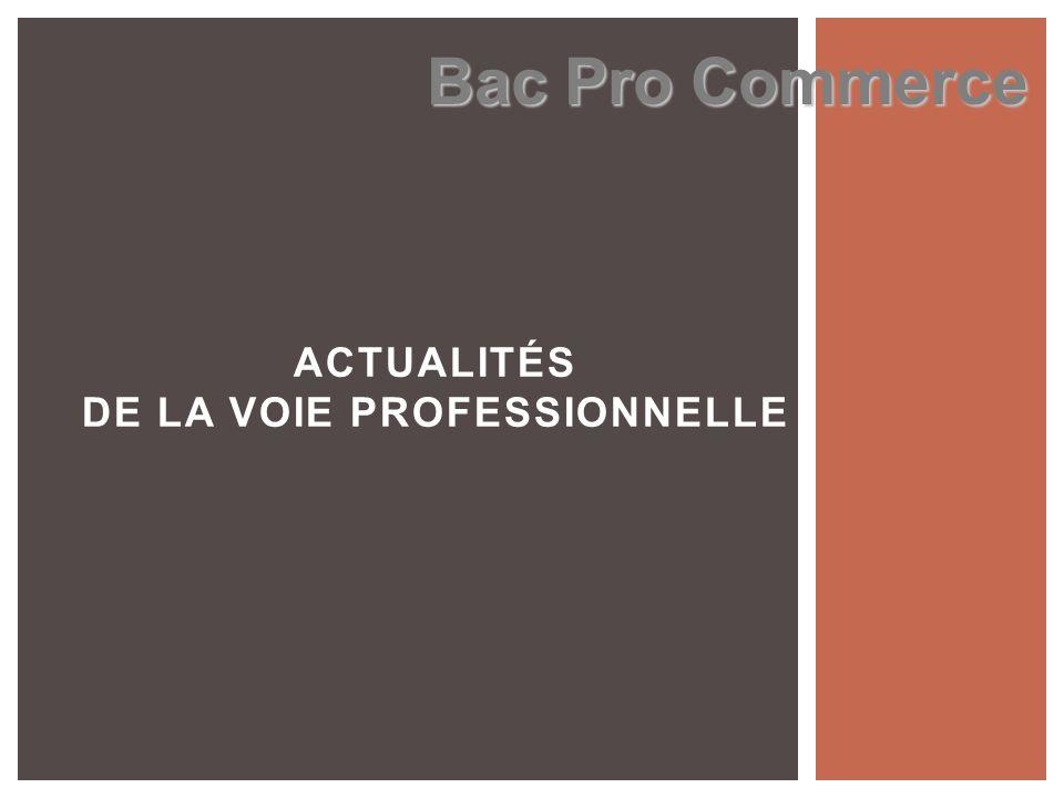 ACTUALITÉS DE LA VOIE PROFESSIONNELLE Bac Pro Commerce