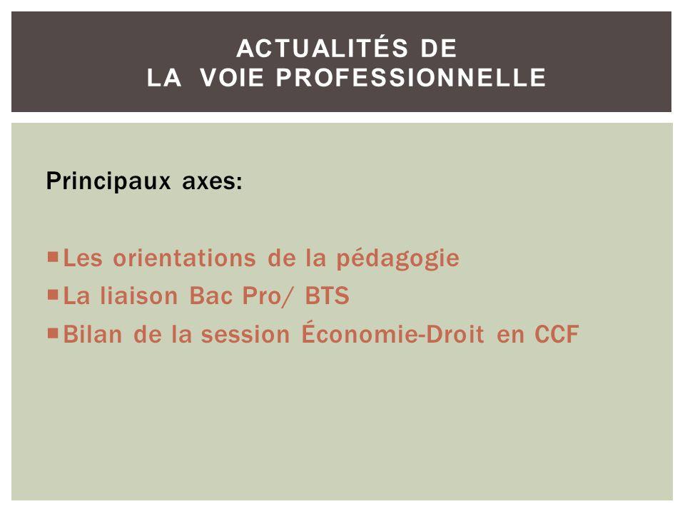 Principaux axes: Les orientations de la pédagogie La liaison Bac Pro/ BTS Bilan de la session Économie-Droit en CCF ACTUALITÉS DE LA VOIE PROFESSIONNE