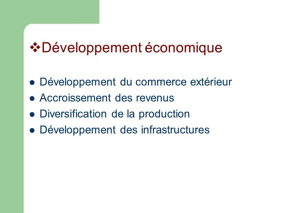 Développement économique Développement du commerce extérieur Accroissement des revenus Diversification de la production Développement des infrastructures